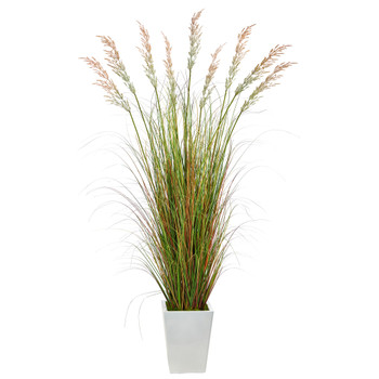 74 Grass Artificial Plant in White Metal Planter - SKU #P1566
