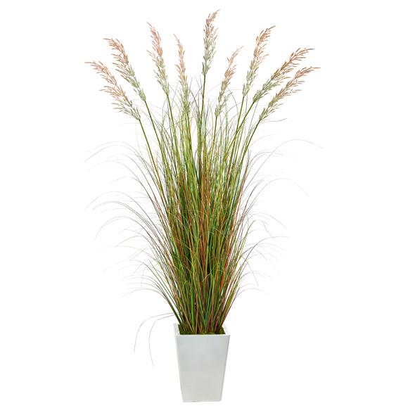 74 Grass Artificial Plant in White Metal Planter - SKU #P1566