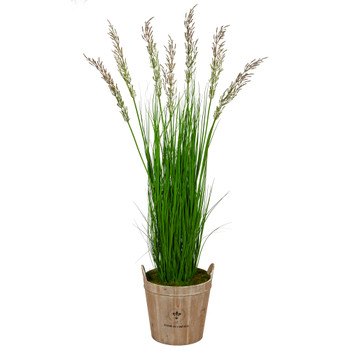64 Wheat Grass Artificial Plant in Farmhouse Planter - SKU #P1567