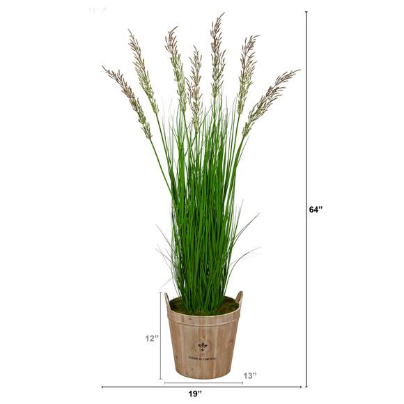 64 Wheat Grass Artificial Plant in Farmhouse Planter - SKU #P1567 - 1