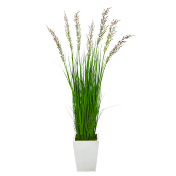 64 Wheat Grass Artificial Plant in White Metal Planter - SKU #P1568
