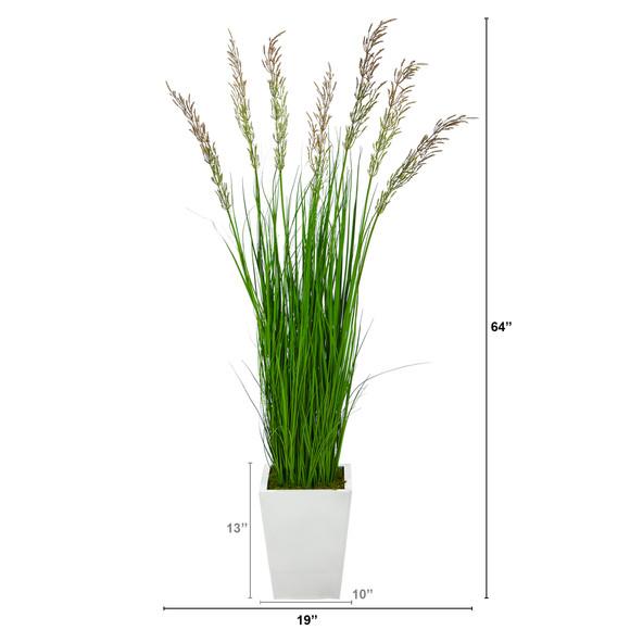 64 Wheat Grass Artificial Plant in White Metal Planter - SKU #P1568 - 1