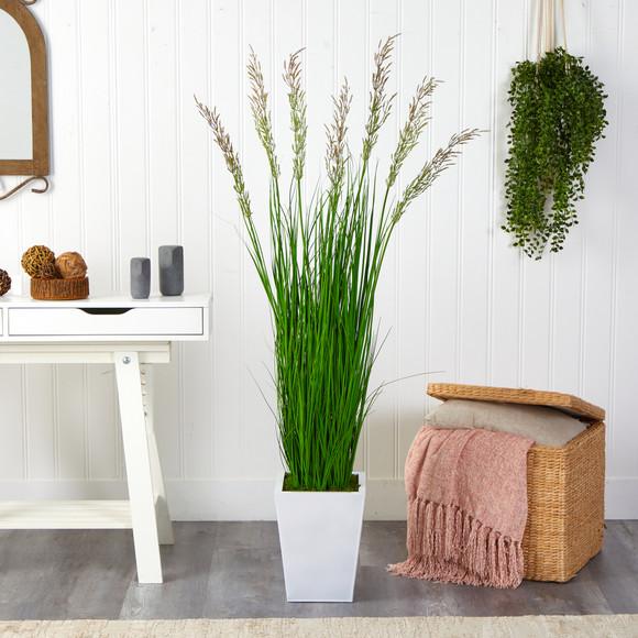 64 Wheat Grass Artificial Plant in White Metal Planter - SKU #P1568 - 2
