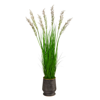 62 Wheat Grass Artificial Plant in Ribbed Metal Planter - SKU #P1569