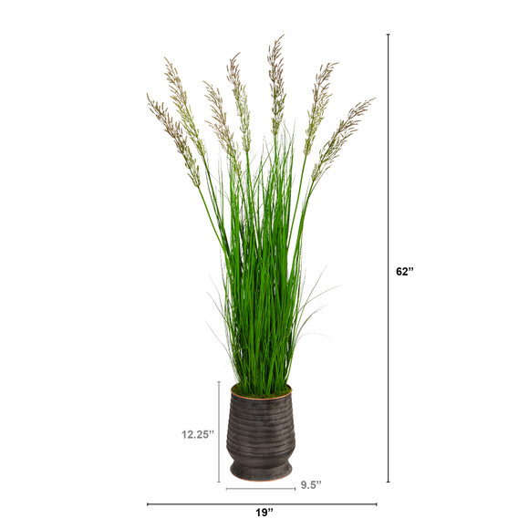 62 Wheat Grass Artificial Plant in Ribbed Metal Planter - SKU #P1569 - 1