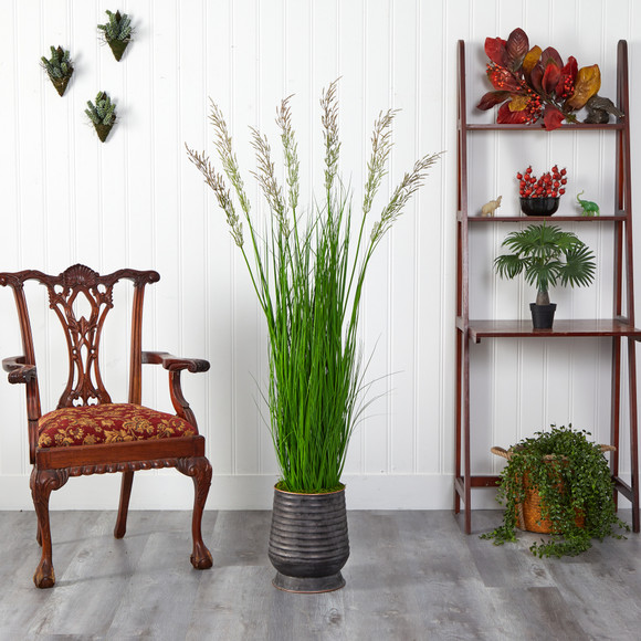 62 Wheat Grass Artificial Plant in Ribbed Metal Planter - SKU #P1569 - 2