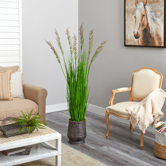 62 Wheat Grass Artificial Plant in Ribbed Metal Planter - SKU #P1569 - 3