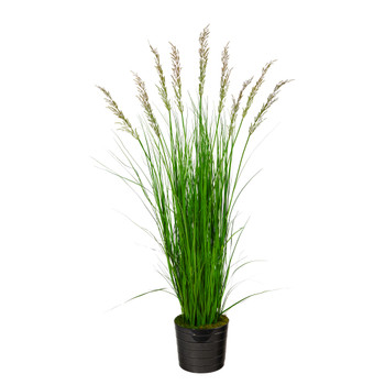 6 Grass Artificial Plant in Black Tin Planter - SKU #P1570