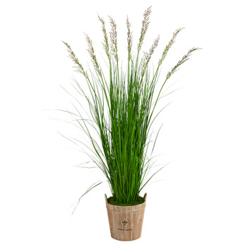 6 Grass Artificial Plant in Farmhouse Planter - SKU #P1571