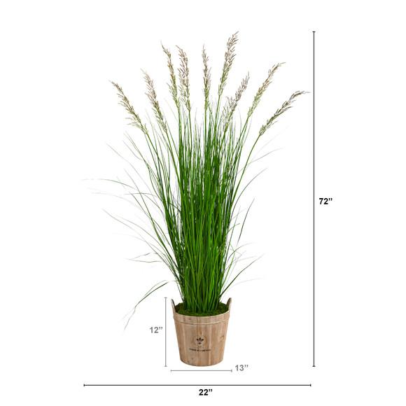 6 Grass Artificial Plant in Farmhouse Planter - SKU #P1571 - 1