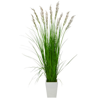 75 Grass Artificial Plant in White Metal Planter - SKU #P1572
