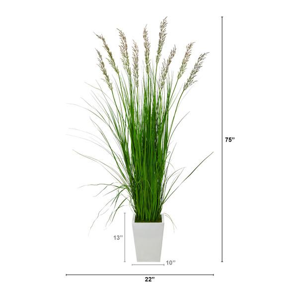 75 Grass Artificial Plant in White Metal Planter - SKU #P1572 - 1