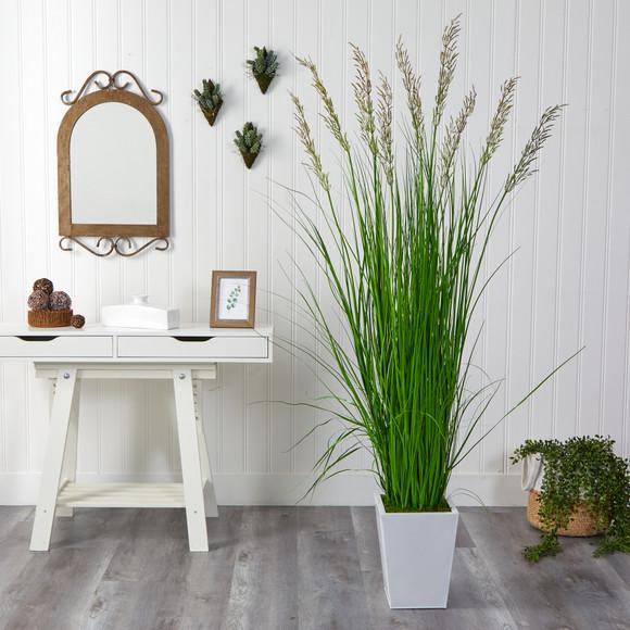 75 Grass Artificial Plant in White Metal Planter - SKU #P1572 - 2