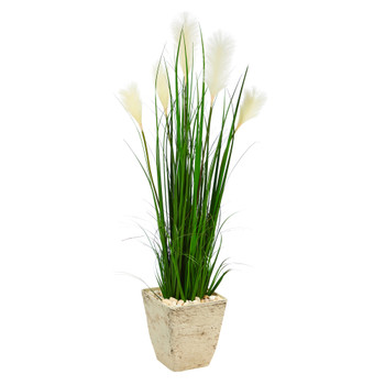 4.5 Wheat Plum Grass Artificial Plant in Country White Planter - SKU #P1573