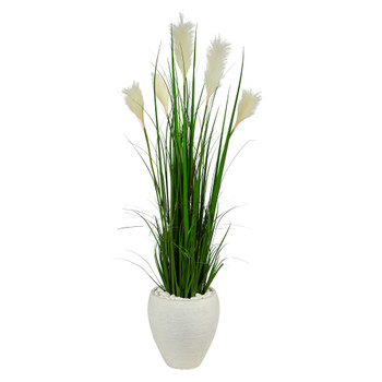 4.5 Wheat Plum Grass Artificial Plant in White Planter - SKU #P1574