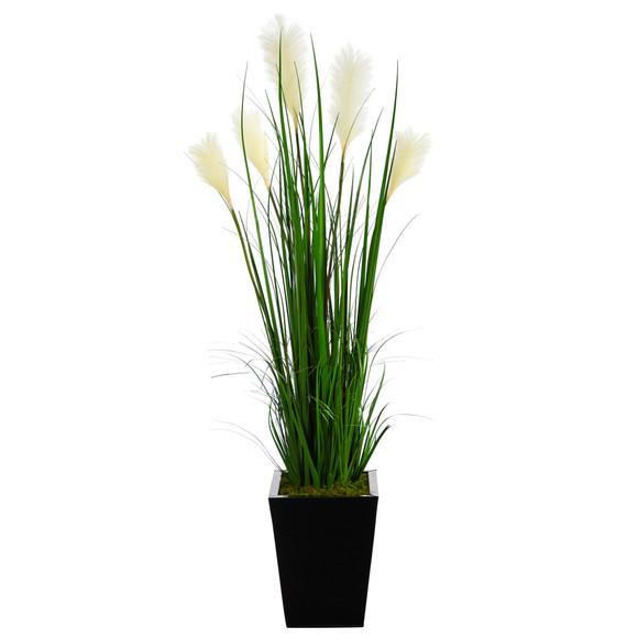4.5 Wheat Plum Grass Artificial Plant in Black Metal Planter - SKU #P1575