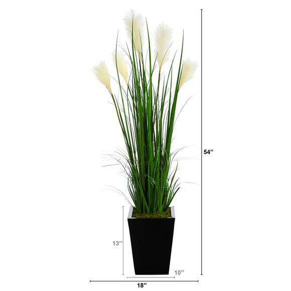 4.5 Wheat Plum Grass Artificial Plant in Black Metal Planter - SKU #P1575 - 1