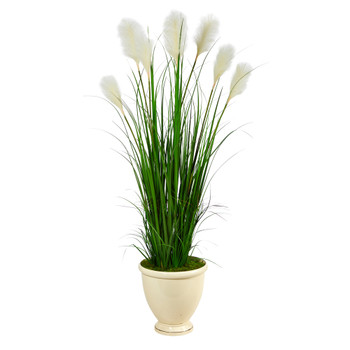64 Wheat Plum Grass Artificial Plant in Urn Planter - SKU #P1576