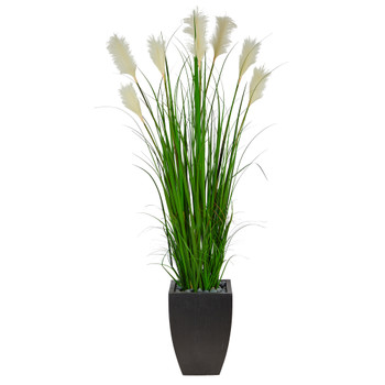64 Wheat Plum Grass Artificial Plant in Black Planter - SKU #P1577