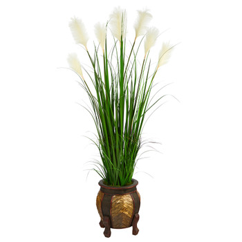63 Wheat Plum Grass Artificial Plant in Decorative Planter - SKU #P1578
