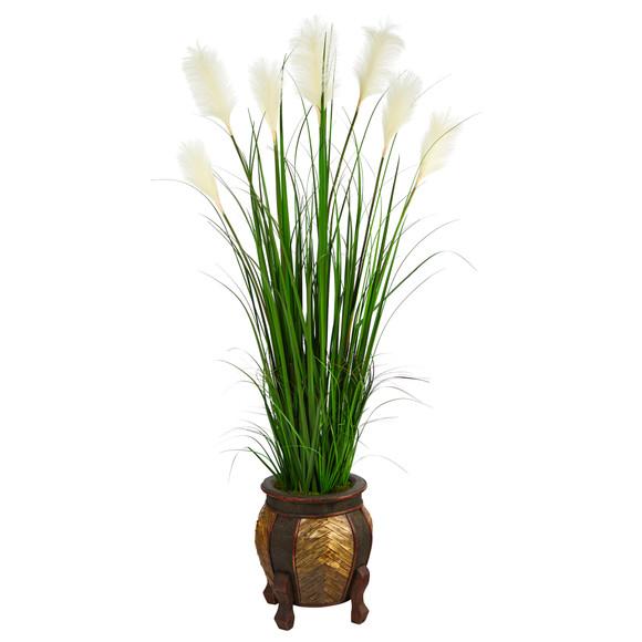 63 Wheat Plum Grass Artificial Plant in Decorative Planter - SKU #P1578