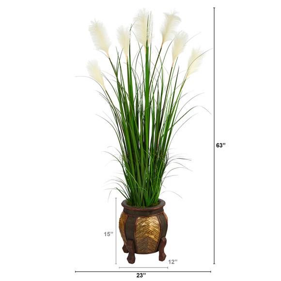63 Wheat Plum Grass Artificial Plant in Decorative Planter - SKU #P1578 - 1