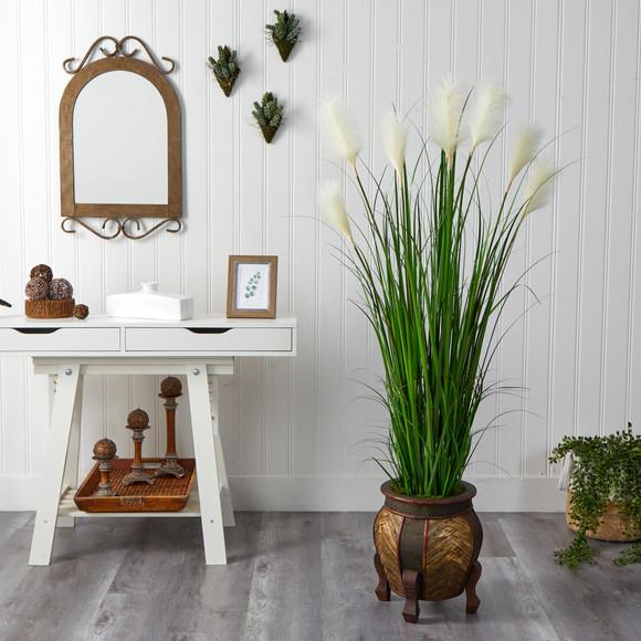 63 Wheat Plum Grass Artificial Plant in Decorative Planter - SKU #P1578 - 2