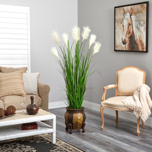 63 Wheat Plum Grass Artificial Plant in Decorative Planter - SKU #P1578 - 3