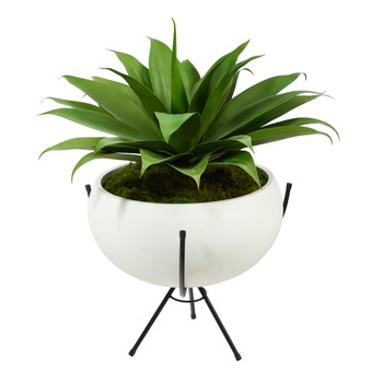 30 Agave Succulent Artificial Plant in White Planter with Metal Stand - SKU #P1580