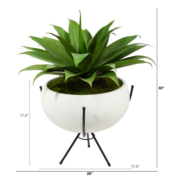 30 Agave Succulent Artificial Plant in White Planter with Metal Stand - SKU #P1580 - 1