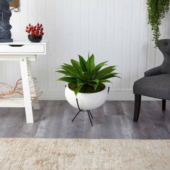 30 Agave Succulent Artificial Plant in White Planter with Metal Stand - SKU #P1580 - 3