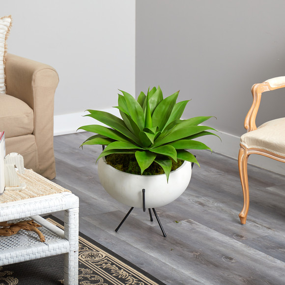 30 Agave Succulent Artificial Plant in White Planter with Metal Stand - SKU #P1580 - 4