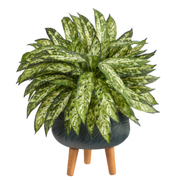 18 Aglaonema Artificial Plant in Black Planter with Stand - SKU #P1581