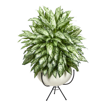 4 Silver Queen Artificial Plant in White Planter with Metal Stand - SKU #P1582