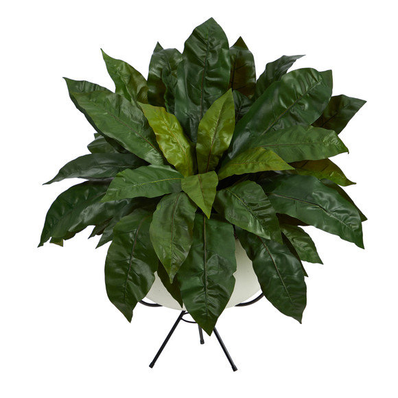 34 Birds Nest Fern Artificial Plant in White Planter with Metal Stand - SKU #P1583