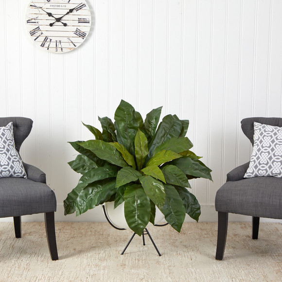 34 Birds Nest Fern Artificial Plant in White Planter with Metal Stand - SKU #P1583 - 2