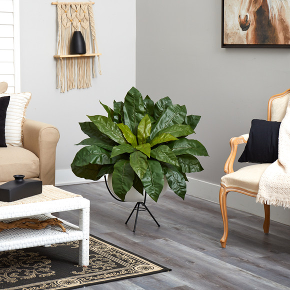 34 Birds Nest Fern Artificial Plant in White Planter with Metal Stand - SKU #P1583 - 3