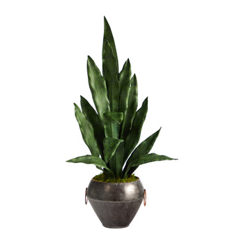 27 Sansevieria Artificial Plant in Metal Bowl - SKU #P1584