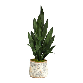 27 Sansevieria Artificial Plant in Decorative Planter - SKU #P1585