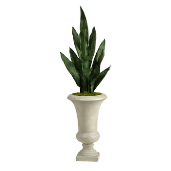 3 Sansevieria Artificial Plant in Sand Colored Urn - SKU #P1587