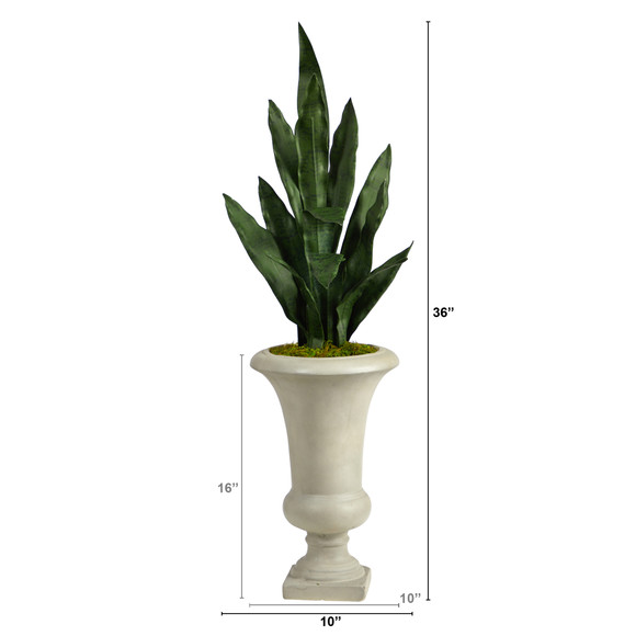 3 Sansevieria Artificial Plant in Sand Colored Urn - SKU #P1587 - 1