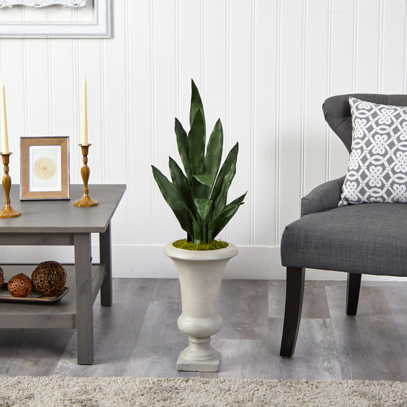 3 Sansevieria Artificial Plant in Sand Colored Urn - SKU #P1587 - 2