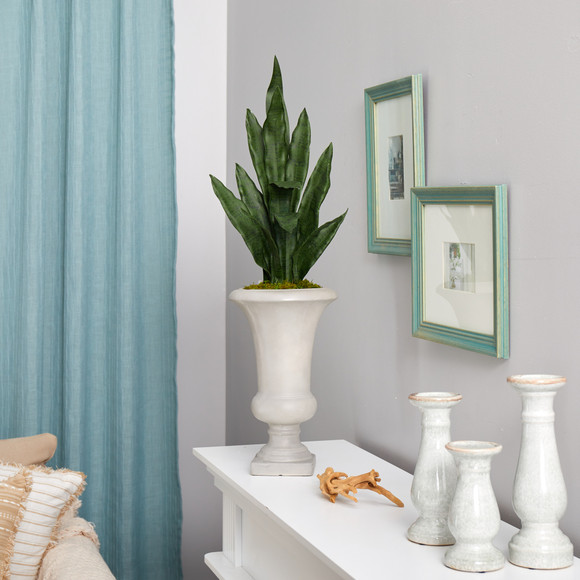 3 Sansevieria Artificial Plant in Sand Colored Urn - SKU #P1587 - 3
