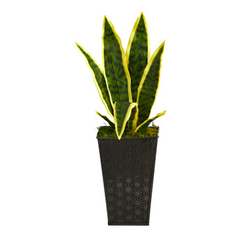 18 Sansevieria Artificial Plant in Embossed Black Planter - SKU #P1588