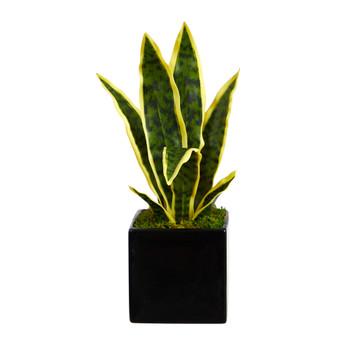 16 Sansevieria Artificial Plant in Black Planter - SKU #P1591