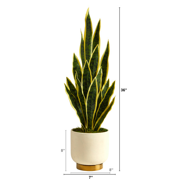 3 Sansevieria Artificial Plant in Cream Planter with Gold Base - SKU #P1593 - 1
