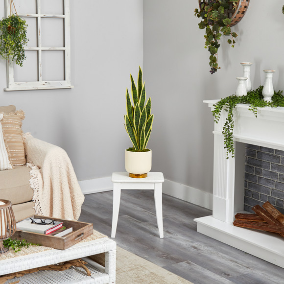3 Sansevieria Artificial Plant in Cream Planter with Gold Base - SKU #P1593 - 3