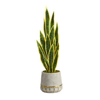 34 Sansevieria Artificial Plant in Stoneware Planter with Gold Trimming - SKU #P1594