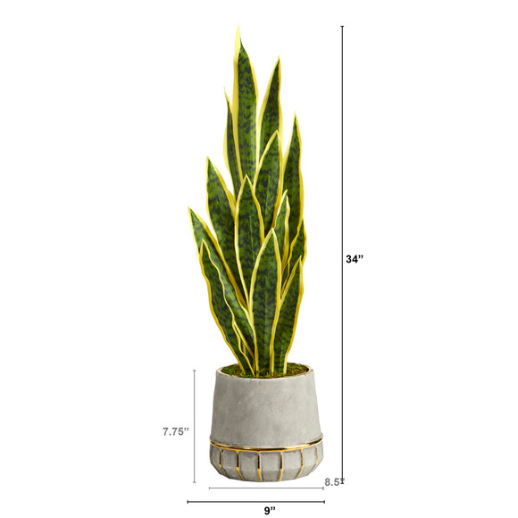 34 Sansevieria Artificial Plant in Stoneware Planter with Gold Trimming - SKU #P1594 - 1