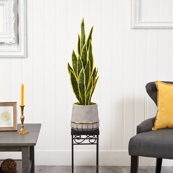 34 Sansevieria Artificial Plant in Stoneware Planter with Gold Trimming - SKU #P1594 - 2